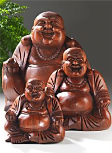 Buddha ~Ethnic Handcarved Wooden Laughing Buddha - Large~Fair Trade by Folio Gothic Hippy~BU1L